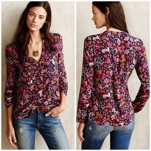Anthropology Maeve Moonflower Popover Top